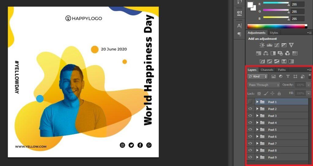 طراحی قالب با فتوشاپ برای پست اینستاگرام