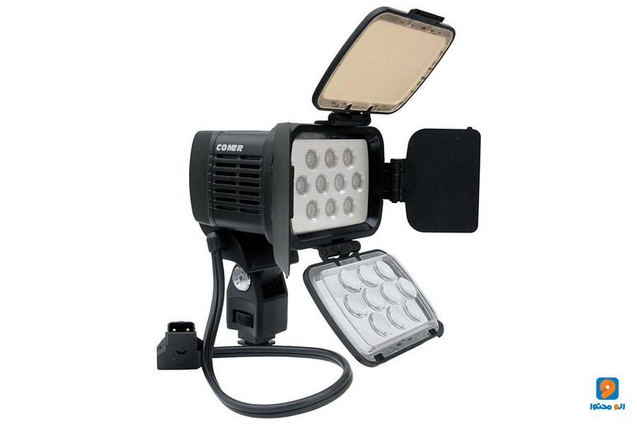 چراغ های LED روی دوربین برای تولید محتوا